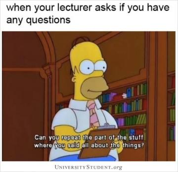 When your lecturer asks if you have any questions