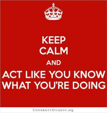 Keep calm and act like you know what your're doing