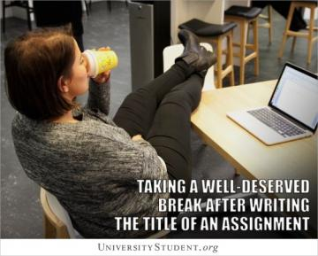 Taking a well deserved break after writing the title of an assignment