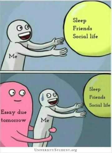 Sleep, friends, social life. Essay due tomorrow. Me.