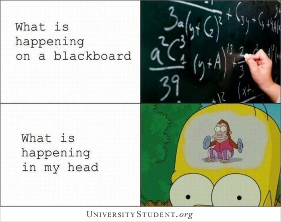 What is happening on the blackboard. What is happening in my head.