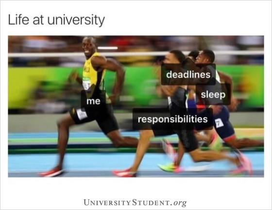 Life at university. Deadlines. Sleep. Responsibilities