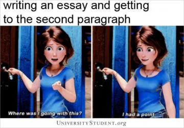 Writing an essay and getting to the second paragraph