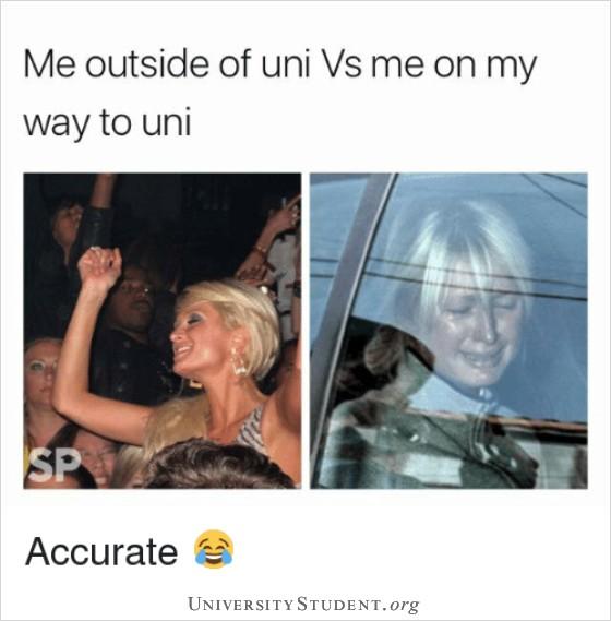 Me outside of uni vs me on my way to uni