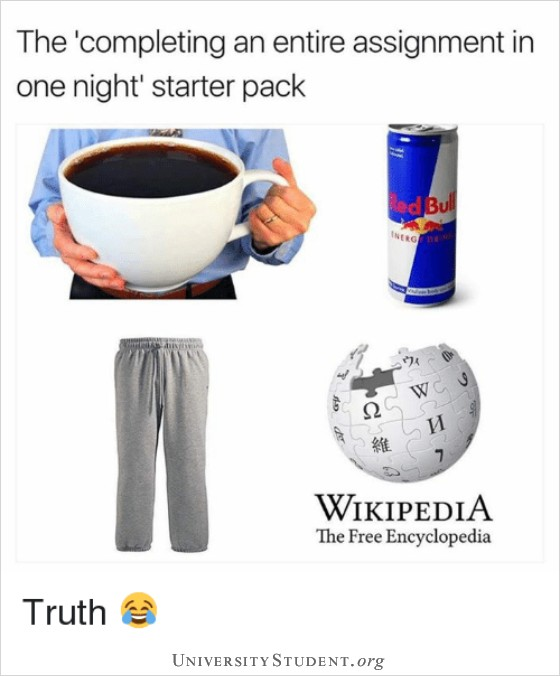 The completing an entire assignment in one night starter pack