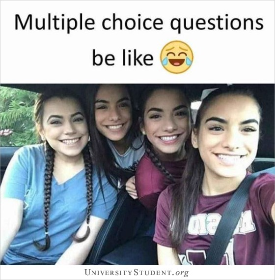 Multiple choice questions be like