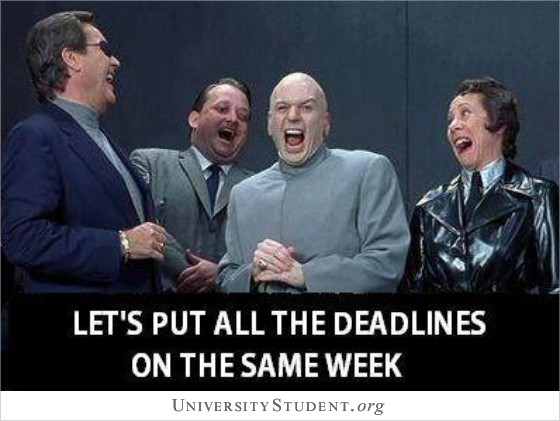 Let's put all the deadlines on the same week