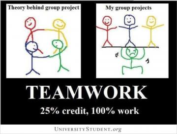 Theory behind group project. My group project. Teamwork. 25% credit. 100% work. -
