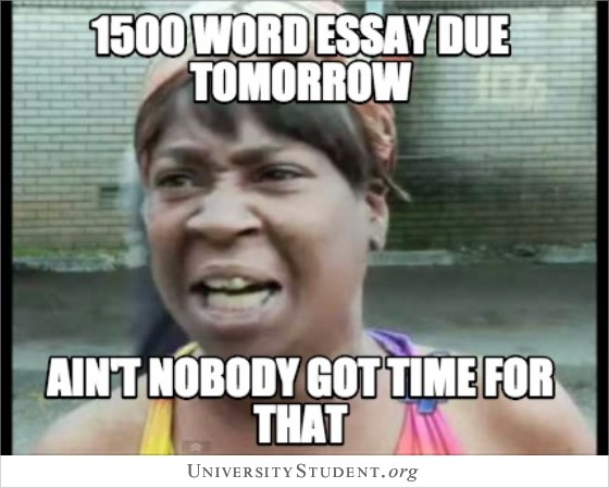 1500 word essay due tomorrow. Ain't nobody got time for that.
