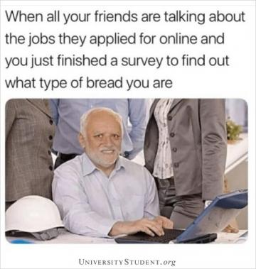 When all your friends are talking about the jobs the applied for online and you just finished a survey to find out what type of bread you are