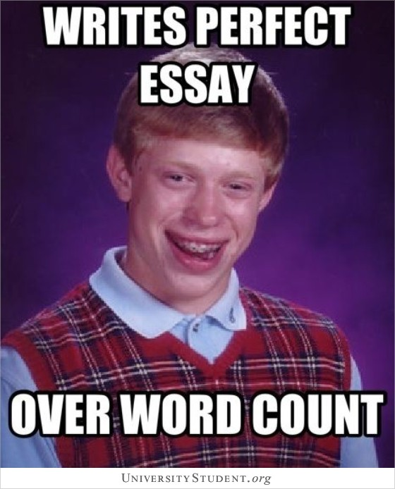 Writes perfect essay. Over word count.