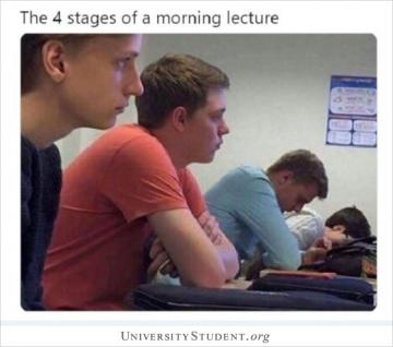The 4 stages of a morning lecture