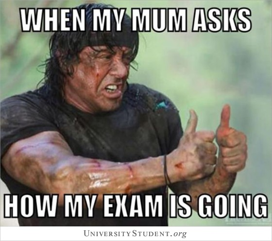 When my mum asks how my exam is going