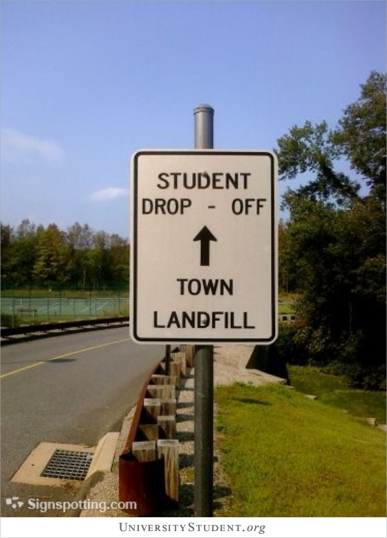 Student drop off. Town landfill