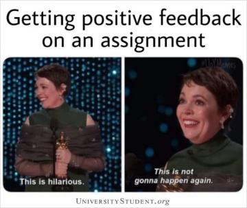 Getting positive feedback on an assignment