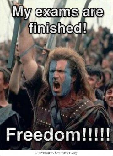 My exams are finished! Freedom!!!!