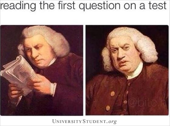 Reading the first question on a test
