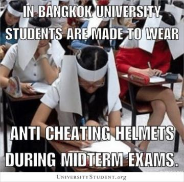 In Bangkok University student are made to wear anti cheating helmets during midterm exams