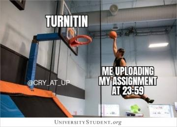 Turnitin. Me uploading my assignment at 23:59