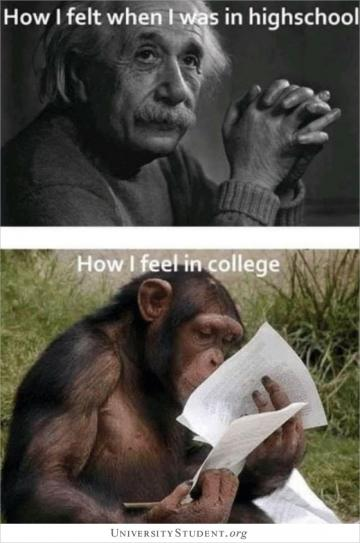 How i felt when i was in high school.  How i feel in college