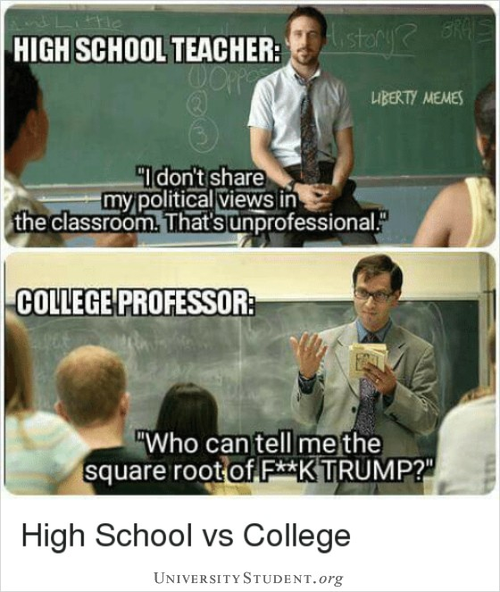 High school teacher. I don't share my political views in the classroom. That's unprofessional. College professor. Who can tell me the square root of f..k Trump?