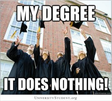 My degree. It does nothing!